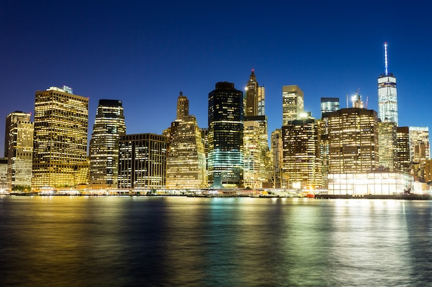 Illuminated manhattan night view from hudson