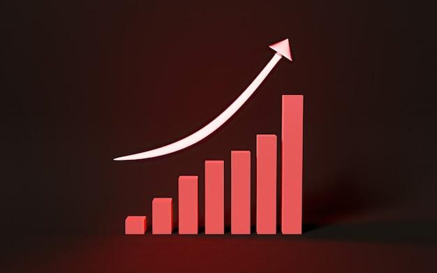 照らされたネオン成長図のサイン、棒グラフ