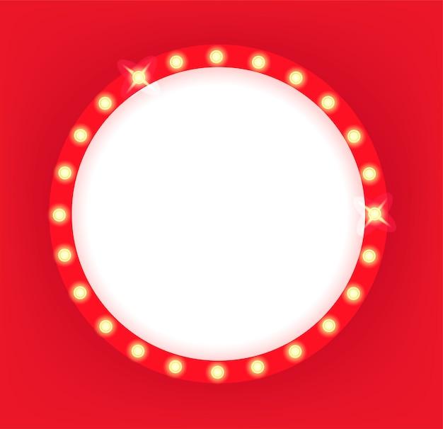 Illuminated retro cinema circle frame