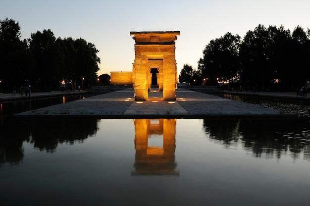 Illuminated temple of debod in madrid