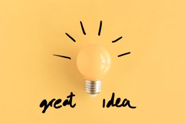 Illuminated yellow light bulb with great idea text