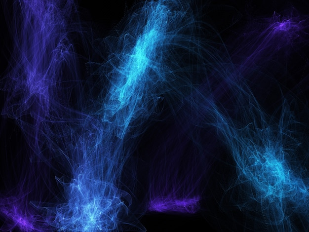 Illustrated abstract purple blue smoke background on black