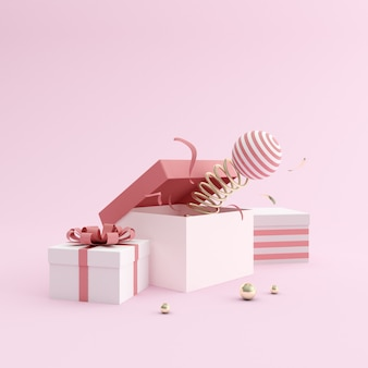Illustrated present boxes in minimal style on pink background
