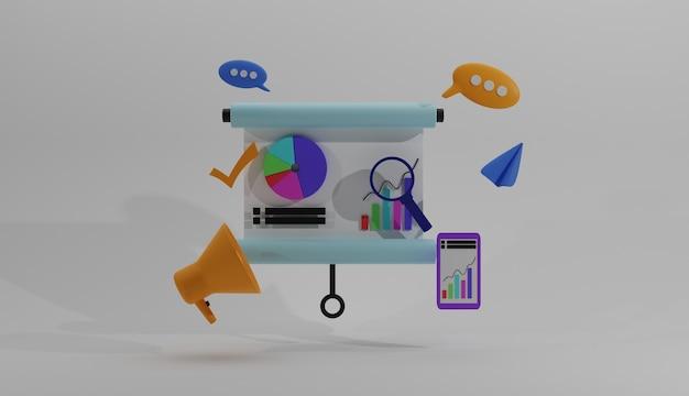 イラスト3dデザインソーシャルメディアビジネスコンセプト