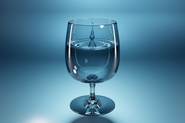 Illustration of a 3d drop of water dripping into a glass goblet on a blue background