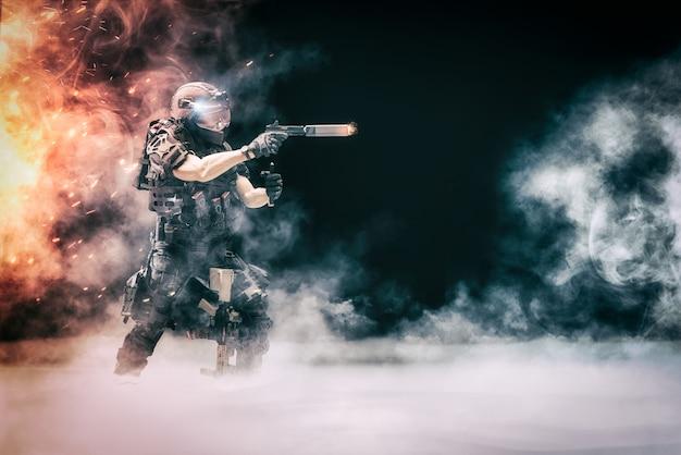 Иллюстрация 3d одиночного солдата полицейского в противостоянии с террористами, бандитами и другими