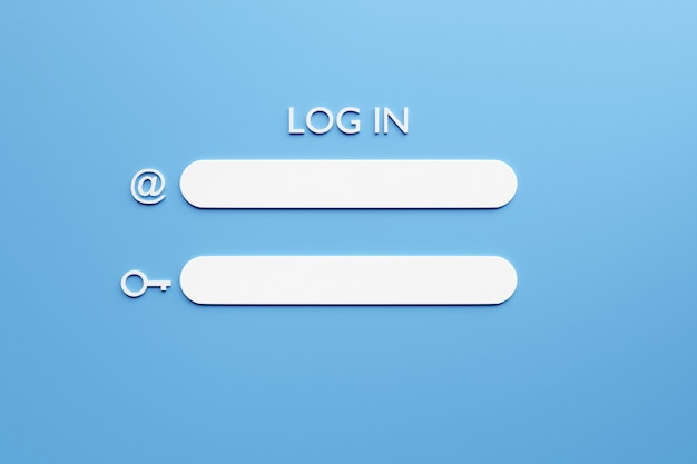 Illustration of a 3d page of the internet page with fields for entering a username and password