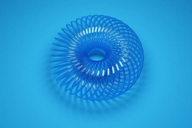 Illustration of a 3d wheel of an unusual shape made of plastic on blue  background. sample of forms, mechanisms. new hair tie