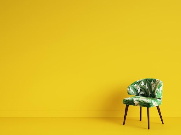 黄色の背景にオーナムネットのある緑の椅子。ミニマリズムの概念。デジタルillustration.3dレンダリングのモックアップ