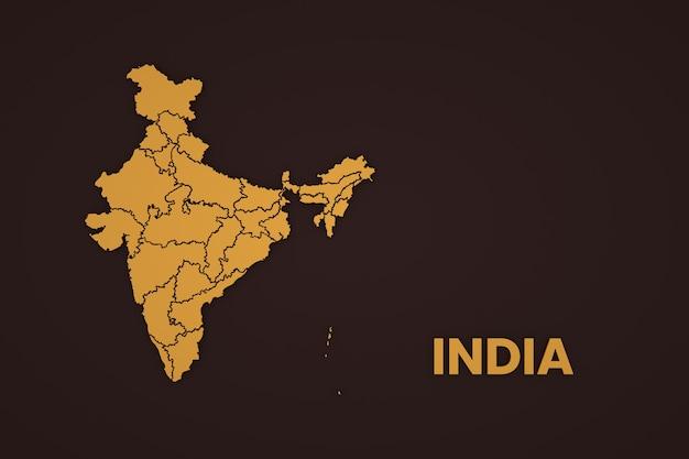 イラスト、茶色の背景にインドの地図の写真。地図上のインドの一部であるインドの地図作成。閉じる