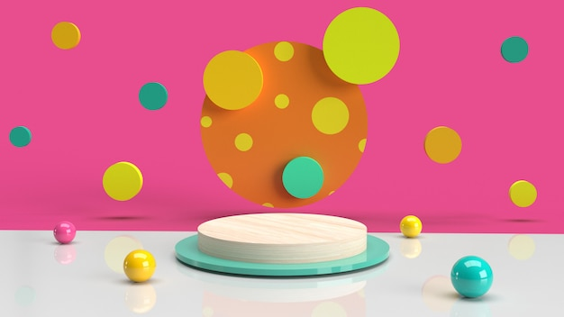 Illustration abstract of 3d render polka dot colorful background with stand podium template