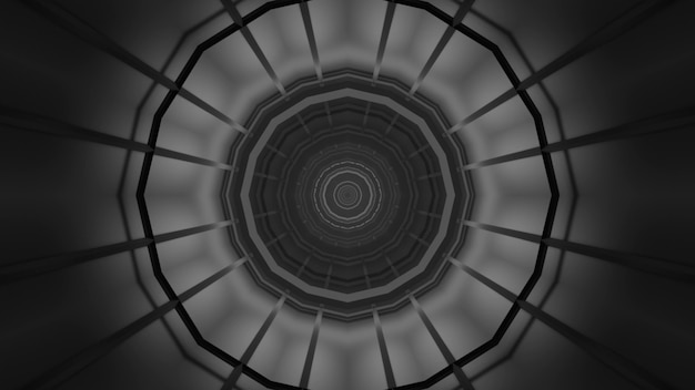 Illustration of abstract background of black and white endless corridor in shape of circle