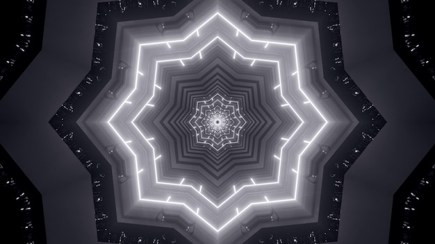 Illustration of abstract background of black and white endless tunnel in shape of star illuminated by neon light