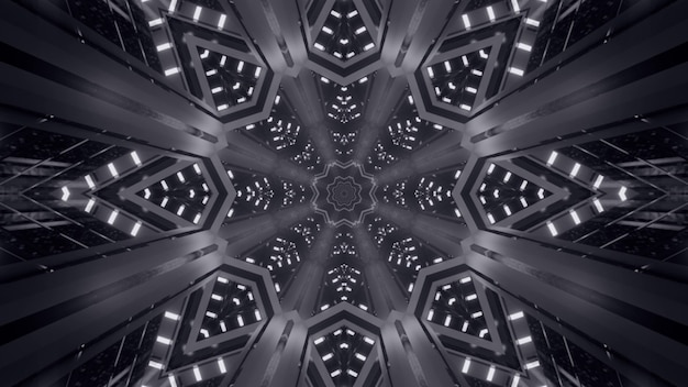 Illustration of abstract background of black and white kaleidoscopic endless corridor with neon light