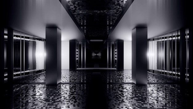 Illustration of abstract background of endless black and white corridor with lights on walls