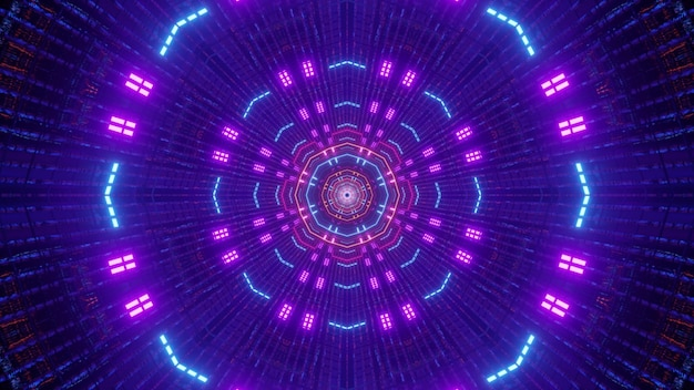 Illustration of abstract background of endless round shaped futuristic corridor with bright neon colors