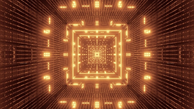 Illustration of abstract background of endless square shaped tech tunnel with vivid sepia glowing light