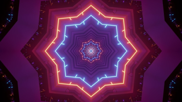 Illustration of abstract background of geometric star shaped tunnel illuminated by bright colorful neon lights