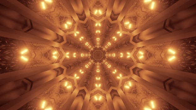 Illustration of abstract background of geometric tunnel with glowing sepia light