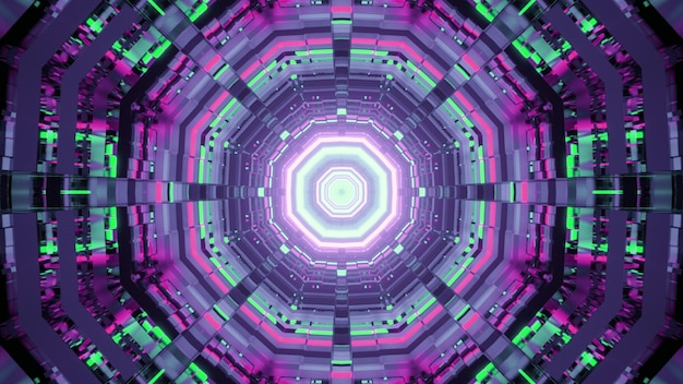 Illustration of abstract background of geometric tunnel with round shapes glowing with neon illumination