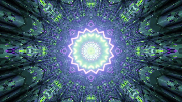 Illustration of abstract background of kaleidoscopic futuristic corridor in shape of star illuminated by green and purple neon colors