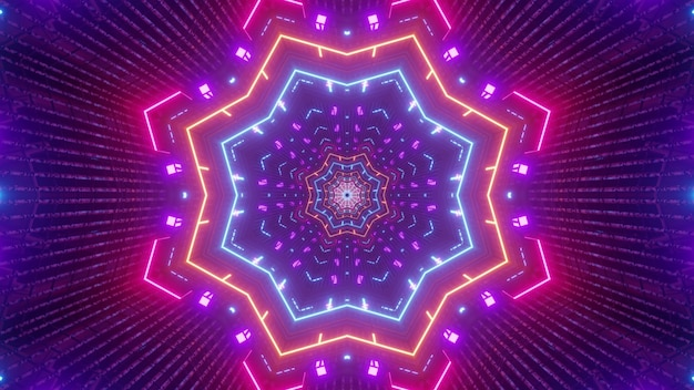 Illustration of abstract background of kaleidoscopic tunnel in shape of star illuminated by neon lights