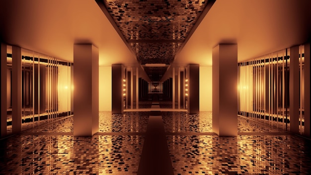 Illustration of abstract background of perspective view of corridor with glowing sepia light