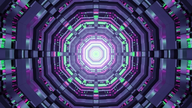 Illustration of abstract background of round shaped futuristic tunnel with purple and green neon illumination