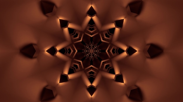 Illustration of abstract background of star shaped tunnel with glowing sepia illumination