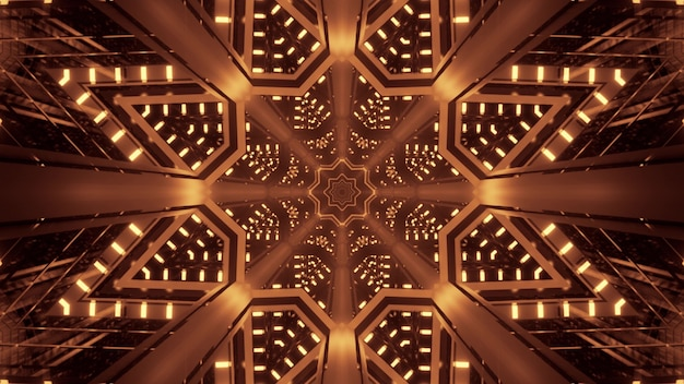 Illustration of abstract background of symmetric tunnel in shape of star with bright sepia light