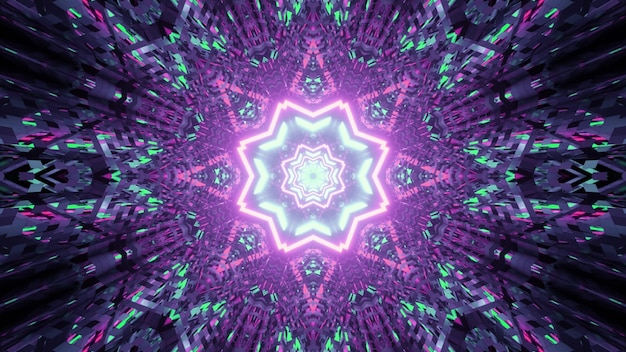 Illustration of abstract background of vivid kaleidoscopic tunnel in shape of star with glowing purple and green lights