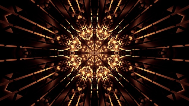 Illustration of abstract crystals forming kaleidoscopic ornament glowing with neon golden light