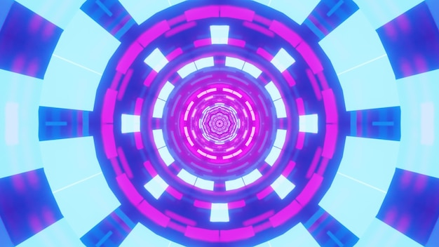 Illustration of abstract geometric ornament glowing with bright blue and purple neon lights inside surreal tunnel