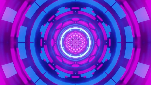 Illustration of abstract geometric ornament glowing with neon light inside round symmetric tunnel