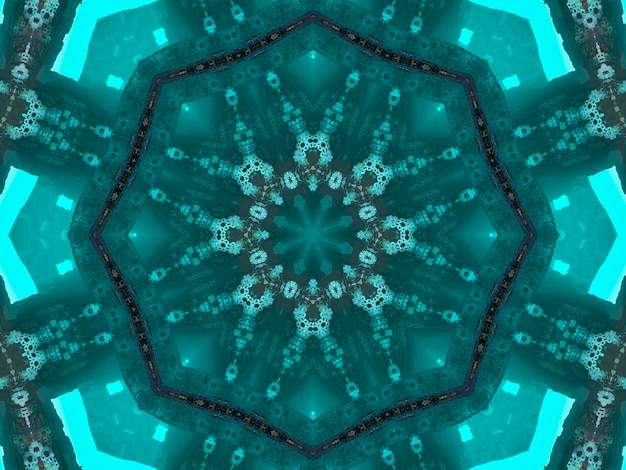 Illustration abstract kaleidoscopic pattern in jade color originated from photograph of green bamboo leaves designed for tiles, wallpaper, textiles or scarves.