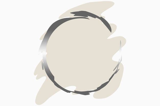 Illustration of abstract logo background of pastel color in brush shape with circle in silver