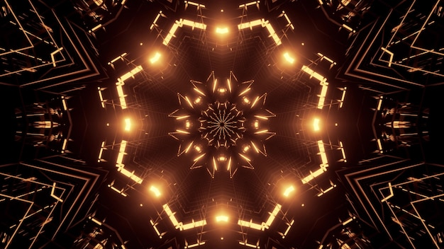 Illustration of abstract ornament shimmering with golden neon lights inside surreal tunnel