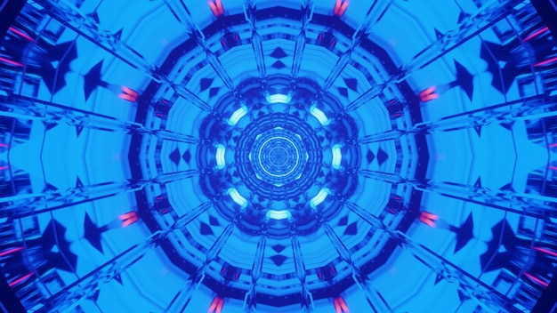 Illustration of abstract surreal ornament glowing with bright blue neon light