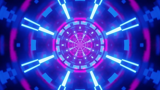 Illustration of abstract tunnel with geometric ornament glowing with blue and purple neon lamps