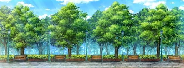Иллюстрация аниме дневного парка.
