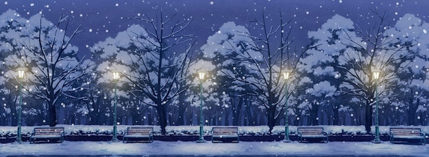 Иллюстрация аниме ночного парка.