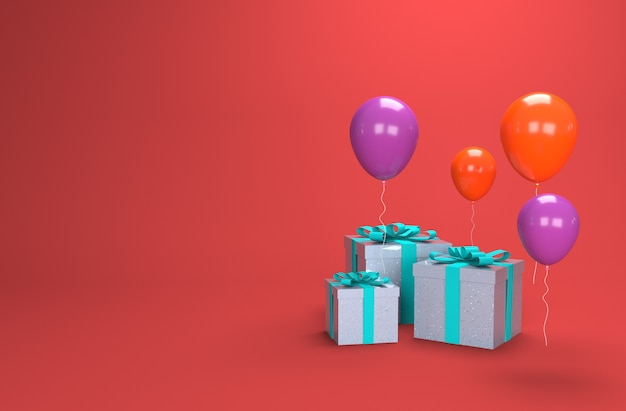 Illustration balloons with box gift in d rendering
