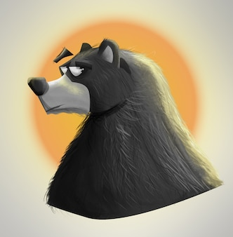 Illustration bear with a serious face