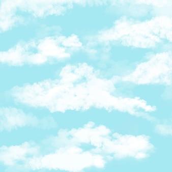 イラスト美しい青い空と雲。景観照明の背景。テンプレート 。