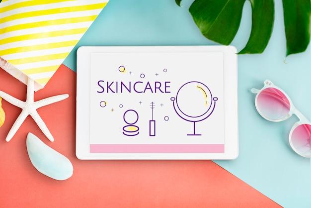 Illustrazione di cosmetici di bellezza makeover skincare su tablet digitale