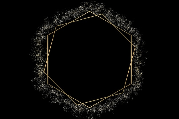 Illustration of black color abstract logo background with golden hexagons