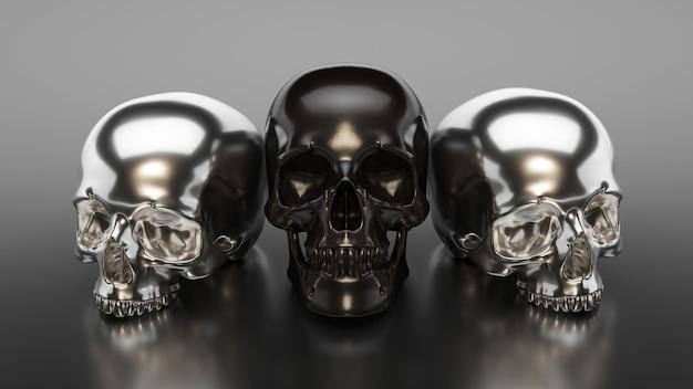 Illustration of black skull collection. 3d rendering