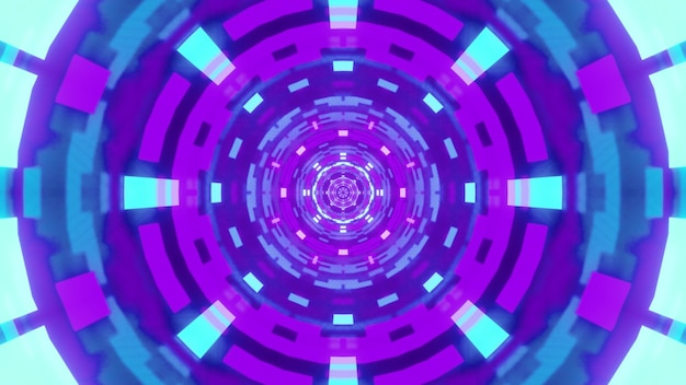 Illustration of blue and violet abstract geometric ornament glowing with neon light inside round futuristic tunnel