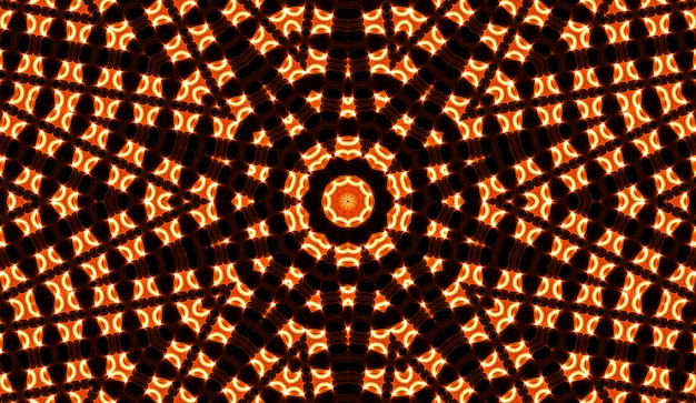 Illustration of a bright fractal kaleidoscope of flares and sun with spirals