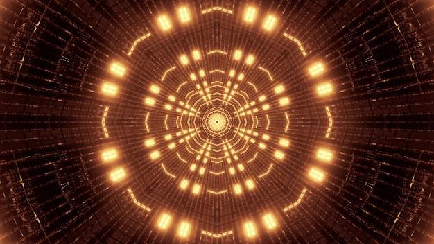Illustration of bright golden lights glowing and illuminating geometric futuristic tunnel